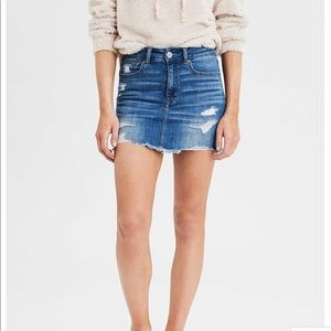 American Eagle High Rise Distressed Denim Skirt